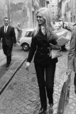 French actress Brigitte Bardot goes shopping in the Via Margutta in Rome wearing a sleek trouser suit. (Photo by Keystone/Getty Images)